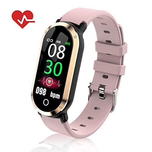 TOP-MAX Fitness Tracker HR Activity Tracker w/Blood Pressure Monitor for Sport, Smartwatch Wristband IP67 Waterproof Calorie Counter w/Pedometer,Step Counter Sleep Monitor for Women Android iPhone