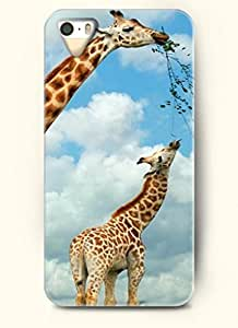 OOFIT Phone Case design with Two Giraffes Eating Leaves for Apple iPhone 5 5s