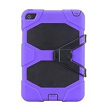IIYBC Brand for Apple iPad Mini 4 Defender Shockproof Survivor Military Duty Hybrid Hard Case with Soft Silicone (Purple)