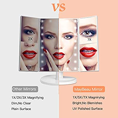 MayBeau Makeup Mirror with Lights, 7X/5X Magnification Vanity Mirror with 21 LED Lights, 180° Rotation Trifold Touch Screen Cosmetic Mirrors and Dual Power Supply