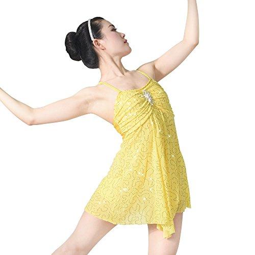 Lyrical Costumes Two Piece (MiDee Dance Costume Lyrical Dress Full Sequins Camisole Dance Dresses (MC, Yellow))