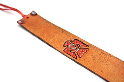 Handmade Leather Bookmark | Southwestern Thunderbird by Lodgepole Leathercraft