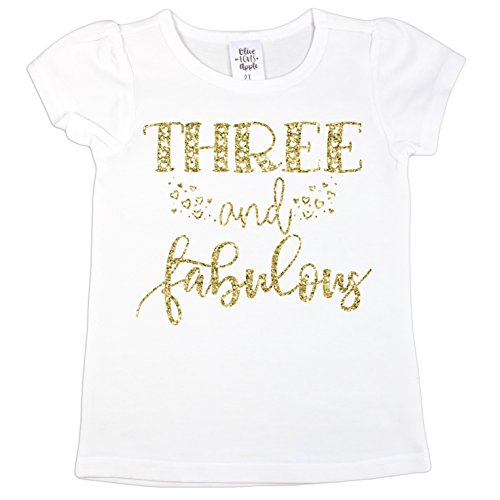 Olive Loves Apple Three and Fabulous 3rd Birthday Shirt For Girls Glitter Gold 3 and Fabulous Shirt With Puff Sleeves,Gold,3T