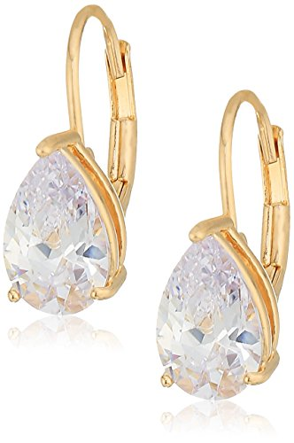 18k Yellow Gold Plated Sterling Silver Pear Cut Cubic Zirconia Leverback -