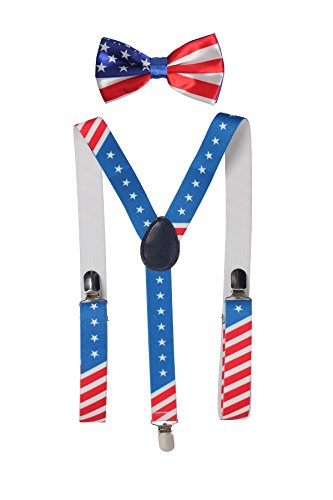 Felizhouse US Patriotic Suspenders and Pre-Tied Bowtie Set Costume for Men Boys (American Flag Stars Stripes)