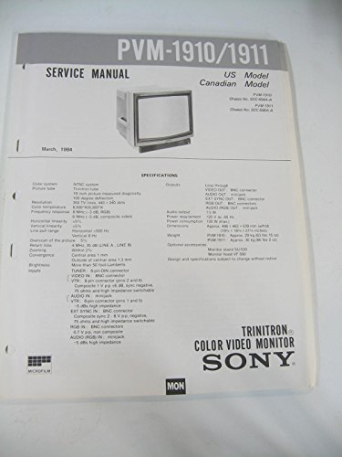 Sony PVM-1910/1911 Service and Repair Manual & Operating Instructions TV Monitor