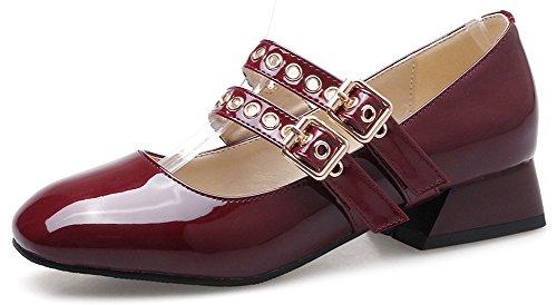 Idifu Womens Comfy Square Toe Tow Strap Tacco Medio Scarpe Col Tacco Alto Pumps Rosso Vino