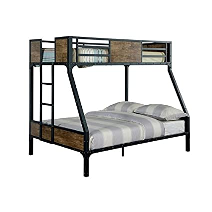 Amazon Com Furniture Of America Baron Twin Over Full Bunk Bed In