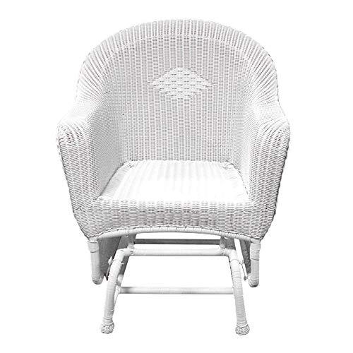 "LB International Resin Wicker Single Glider Patio Chair, 36"", White"