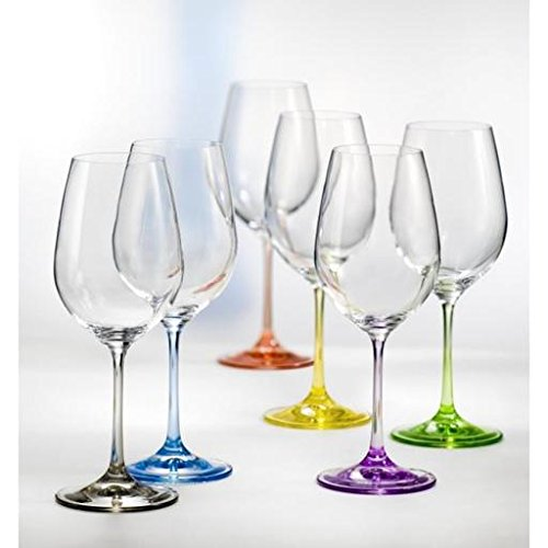 Bohemian Crystal Set of 6 White Wine Crystal Glasses 12 Oz Each Stem Different Color Czech Republic LEAD - Stems Crystal Wine