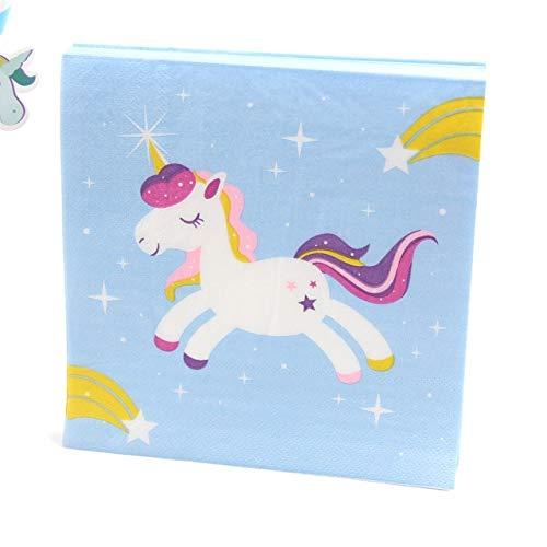 Sala-Tecco - 20PCS Rainbow Unicorn Paper Napkin 100% Virgin Wood Tissue Paper Napkins for Home Supplies Kids Birthday Party Decorations