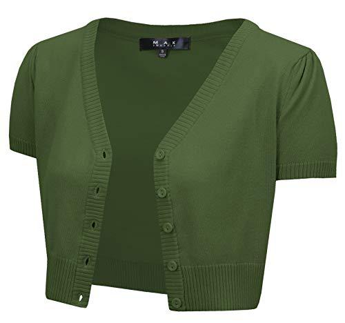 (Short Sleeve Cropped Bolero Cardigan Sweater Vintage Inspired Pinup HB2137-OLV-L Olive)