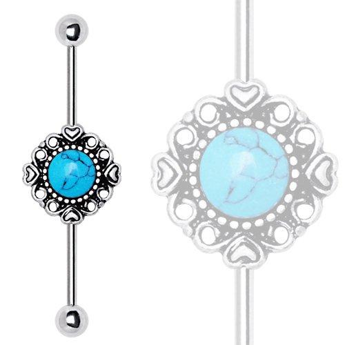 eeddoo® Barbell–Industrial en acier–Turquoise (Piercing Haltère Tige pour boucles d'oreille Piercing helix Tragus Argent)