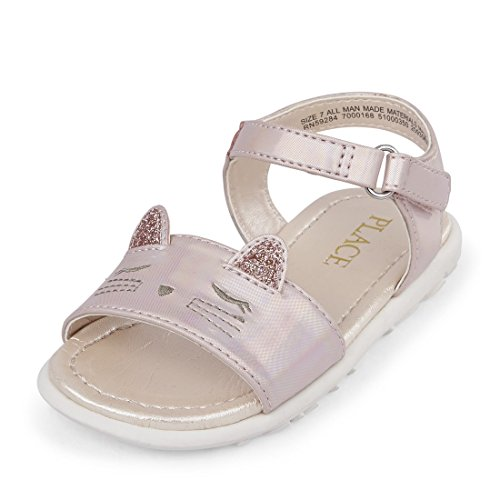 Large Product Image of The Children's Place Girls' TG Cat Canary Flat Sandal, Pink, TDDLR 8 Medium US Infant