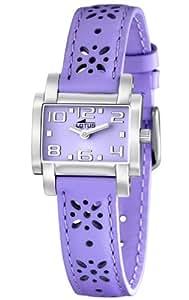 Lotus 15612/3 - Reloj analógico infantil de cuarzo con correa de piel lila - sumergible a 50 metros