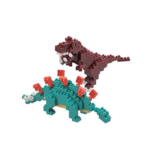 Nanoblock Stegosaurus and Tyrannosaurus (T-Rex) Model Kit ()