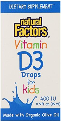 Природные факторы Витамин D3 400iu для детей жидкости, 0,5 жидкую унцию