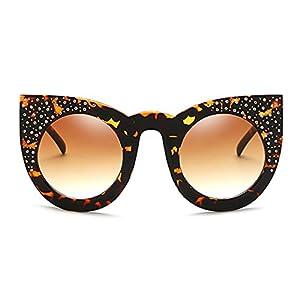 Slocyclub Retro Bling Cat Eye Round Lens Sunglasses