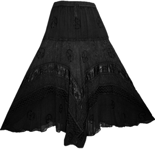 (Agan Traders 704 SK Dancing Full Twirl Long Renaissance Skirt (Small/Medium, Black))