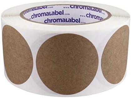 ChromaLabel Round Permanent Kraft Dot Stickers 2 inch 500//Roll