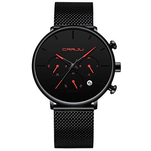 - CRRJU Men Chronograph Big Black Face Watches with Red Pointer,Mens Business Date Window Stainless Steel Watches
