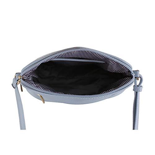 SG SUGU Lightweight Medium Dome Crossbody Bag with Tassel | Zipper Pocket | Adjustable Strap (Blue/Ivory)