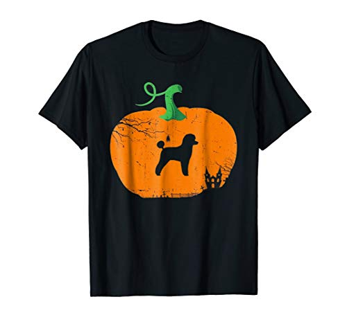 MINIATURE POODLE in Pumpkin Happy Halloween T-shirt -