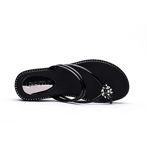 Zapatos Chanclas Sandalias Mujer Plataforma Tacón negro Peep Chanclas Moda Zapatos Caminar con de Confort Mujeres JZTC de Zapatilla Para 6257 Toe Moda KJJDE FqdSYd
