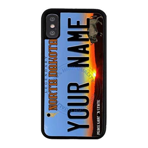 BleuReign Personalized Custom Name 2016 North Dakota State License Plate Rubber Phone Case for Apple iPhone XR ()