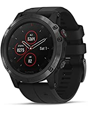 Garmin fēnix 5X Plus Ultimate Multisport Watch with Music, Maps and Garmin Pay Sapphire, Black with Black Band, 010-01989-00
