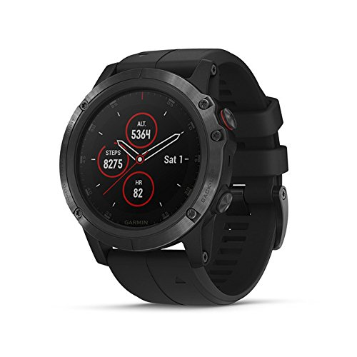 Garmin fēnix 5X Plus, Ultimate Multisport GPS Smartwatch, Features Color TOPO Maps and Pulse Ox, Heart Rate Monitoring, Music and Pay, Black Hardware/Black Band