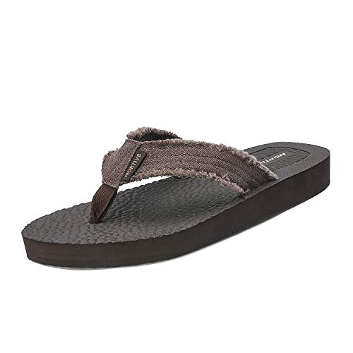 NORTIV 8 Men's 181111M Coffee Flip Flop Sandals Thong Summer Beach Sandal Size 13 M US