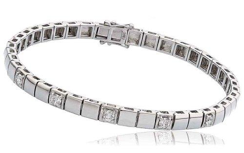 0.50CT Certified G/VS2 Round Brilliant Cut Claw Set Five Stone Diamond Bracelet in 18K White Gold