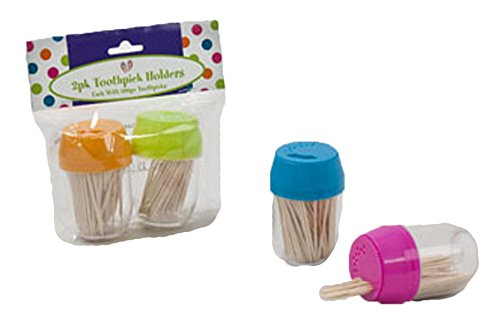 Set of 4 Colorful Toothpick Dispensers - Includes 100 Toothpicks per Dispenser - Assorted Colors Featured Include Pink, Blue, Green, and Orange! - Black Duck Brand (Toothpick Dispenser Plastic)