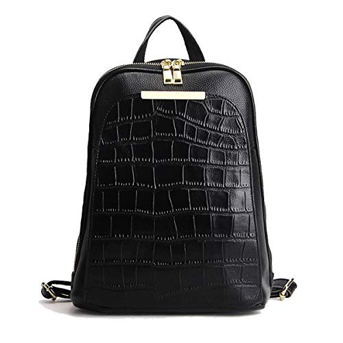 - Classic Natural Cow Leather Everyday Women Backpack Ladies Girls Top Layer Cowhide Book Bag