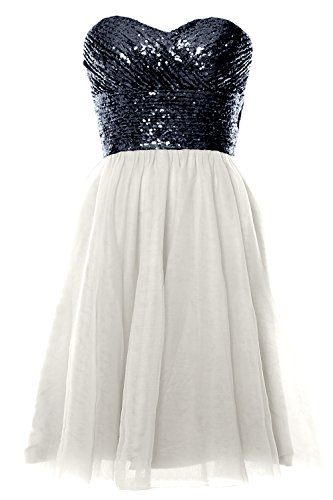 Dark Women Dress Cocktail MACloth Wedding Navy Short Ivory Strapless Gown Formal Sequin Party xRvvdgnH