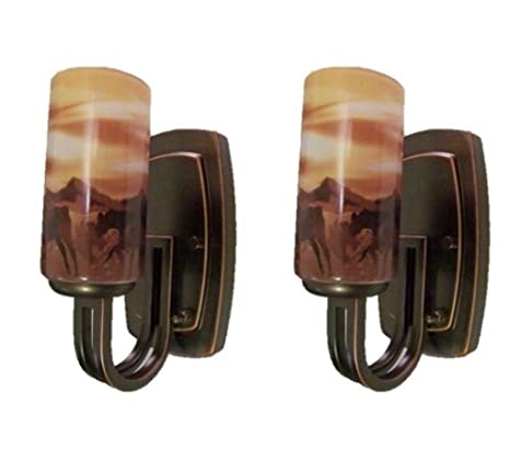 A Pair of Brushed Oil Rubbed Bronze 12Volt RV / C&er Wall Sconce Horse Light  sc 1 st  Amazon.com & Amazon.com: A Pair of Brushed Oil Rubbed Bronze 12Volt RV / Camper ...