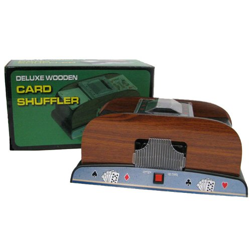 Trademark Poker 10-37581-A Card Shuffler Deluxe Wooden, 1-2 Deck