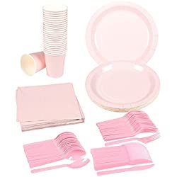 Disposable Dinnerware Set - 24-Set Paper Tableware - Dinner Party Supplies for 24 Guests, Including Knives, Spoons, Forks, Paper Plates, Napkins and Cups, Pink