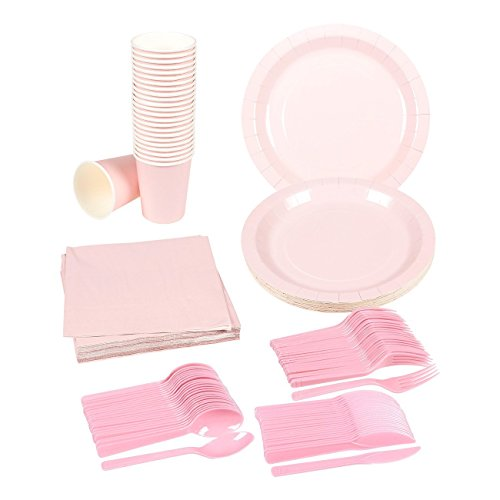 Disposable Dinnerware Set - Serves 24 - Pink Party Supplies - Includes Plastic Knives, Spoons, Forks, Paper Plates, Napkins, Cups, Pink