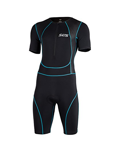 SLS3 Mens Triathlon Tri Race Suit Short Sleeve 1 Pocket Skinsuit Trisuit - great from Sprint to Ironman (Black/Blue, Medium)