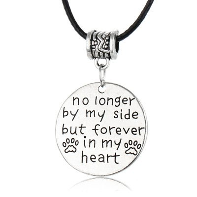 (Memorial Necklace Jewelry Gifts No Longer by My Side But Forever in My Heart in Memory of Family Friend Pet Loss Sympathy Memorial)