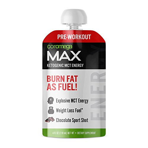 Coromega MAX Pre-Workout Gel Energy Shot, Fat Burning MCT Oi