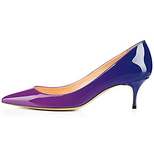 - Kmeioo Pumps for Women, Women's Slip On Kitten Heels Pointed Toe Low Heels Office Pumps-Purple Blue 7M