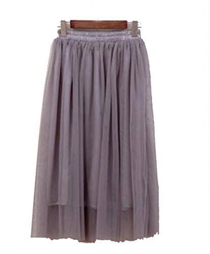 Newport Spandex Skirt - YoungG-3D New Tulle Skirts Womens Summer High Waist Long Skirt Elastic Waist Sun Fluffy Tutu Skirt Dark Gray One Size