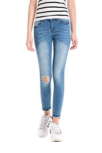pohiya Juniors Teen Girls Side Stripe Ripped Jeans Light Blue Skinny Denim Pants