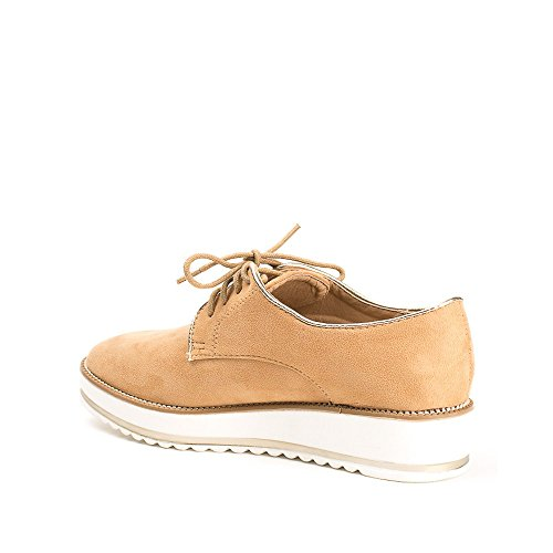 Ideal Shoes, Damen Schnürhalbschuhe Camel