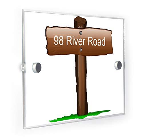 (Old Wooden Sign Post House Sign Door Number Plaque)