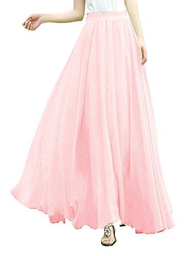 v28 V28Women Full/Ankle Length Elastic Pleated Retro Maxi Chiffon Long Skirt (XXL, Pink) - Mid Length Chiffon