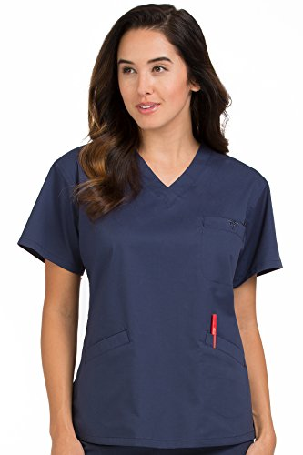 Med Couture Women's V-Neck Signature 3 Pocket Scrub Top, New Navy, (Signature Pocket)